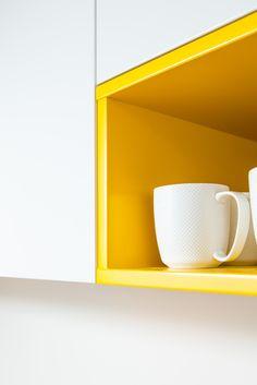 Kitchen 564 by Sally Steer Design, Wellington New Zealand. Semigloss Mirotone cabinetry in Resene Merino & Galliano.