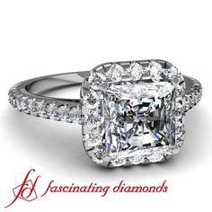 Asscher Cut Halo Diamond Ring