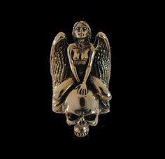Bronze Skull in Ecstasy Psychotic Biker Ring - Custom Size - Free Shipping #Handmade #StatementSkullRing