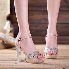 Women's Shoes Wedge Heel Wedges/Heels/Peep Toe/Platform/Open Toe Sandals/Pumps/Heels Dress/Casual Blue/Pink/Silver/Gold - USD $ 20.99