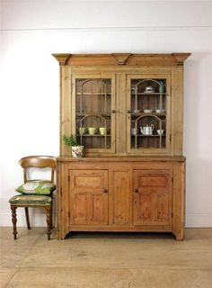 Stunning Large Antique Solid Pine Dresser | Victorian Display Cabinet in Antiques, Antique Furniture, Dressers