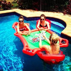 poker table in the swimming pool