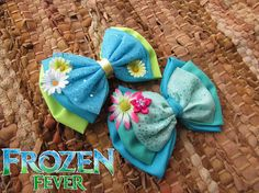 Frozen fever Anna and Elsa Bow bundle by BOWSbeadsBOWS on Etsy