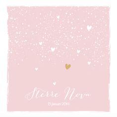 lovz.nl | lief roze geboortekaartje meisje met hartjes en confetti. Zelf maken!