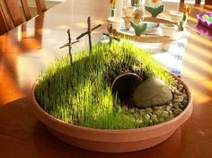 """.....rolled the stone away""  I am going to do this lil' garden this year. Displaying the reason for the season! Love it!"