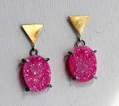 Neon Pink Drusy and Triangle Stud Dangle Earrings- Handmade and one of a kind by Rachel Pfeffer. via Etsy.