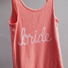 How to make your own custom shirts for Bridesmaids, Groom, Bride, DIY with tutioral. Bleach pen & tank top, cute, personalized & easy!