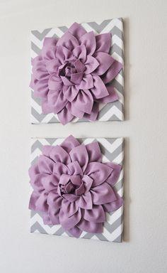 "TWO Wall Flowers -Lilac Dahlia on Gray and White Chevron 12 x12"" Canvas Wall Art- Baby Nursery Wall Decor-"
