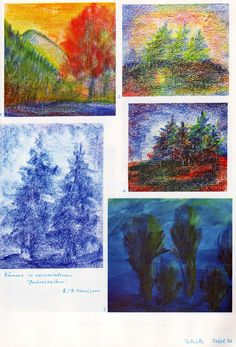 Taf. 56: Baumkunde 01: Bäume in versch. Jahreszeiten, in Bwfarb. (8./9. S.j.) 1. Berglandschaft mit orangem Baum mit orange-gelbem Him. und See davor, Berghänge mit grünen Tannen 2. drei grün-blau-gelbe Tannen auf rot-grün-gelb-schwarzem Boden mit gelb-rot-blauem Hintergr. 3. bl. Tannen auf bl.Boden vor weiss-bl. Hintergrund 4. grün-blau-schwarze Tannen auf roter Erde mit blau-weiss-rotem Hintergr. 5. grüne Hochstaudenpflanzen vor bl. Hintergrund auf dunkelblauem Boden Blue Painting, Painting & Drawing, Watercolor Paintings, Crayon Drawings, Wax Crayons, Rudolf Steiner, Colorful Drawings, Botany, Art World