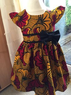 Yellow and red garden ankara girls dress by Shakarakids on Etsy African Inspired Fashion, African Print Fashion, Africa Fashion, African Children, African Women, African Print Dresses, African Dress, African Attire, African Wear