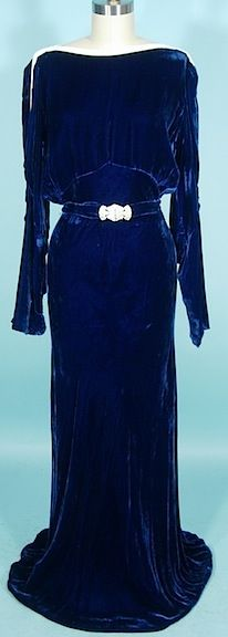 c. 1930's OPENHYM's DEBUVEL Transparent Velvet Blue Velvet Gown with White Bead Trim and Open Sleeves No 865