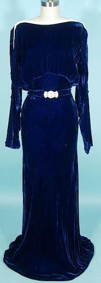 c. 1930's OPENHYM's DEBUVEL Transparent Velvet Blue Velvet Gown with White Bead Trim and Open Sleeves