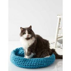 Free crochet pattern for cat bed. Cat Nap Nest. Your feline friend would love a new place to nap this spring.