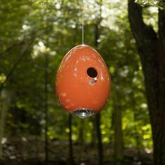 Bittersweet Orange Egg Bird House in Nature