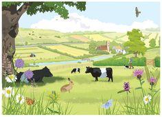 Illustration of Grassland habitat UK on Behance