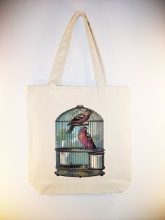 Colorful Caged Birds Vintage Illustration transferred onto 15x15 Canvas Tote --Larger Zip Top Tote styleavailable