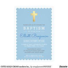 CUTE GOLD CROSS modern baptism scalloped edge blue #zazzle #shopping #zazzlemade #zazzleproducts #baptisminvites #christeninginvites #baptisminvitation #cuteinvites #moderninvites #celebrategod #printedinvitation #invites #invitations