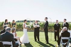 Ceremony with 50 acres of vineyard as backdrop at Sue Ann Staff winery.