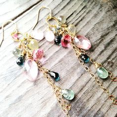 Chandelier Earrings with Exquisite Cascade of Semi by AstridLily