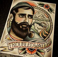 Troubled Waters Tattoo Art Print by ParlorTattooPrints on Etsy, $24.00
