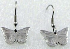 Silver Butterfly Earrings Stainless Steel Dainty Lightweight  #DropDangle