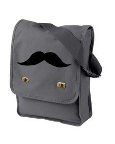 The Moustache (gray) Messenger Bag / Laptop Bag on Etsy, $23.00