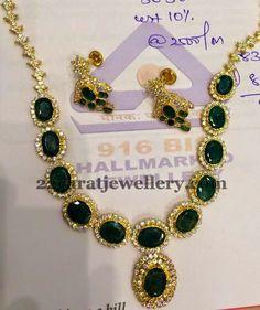 CZ Emerald Necklace 45gms | Jewellery Designs
