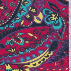 "Paisley Floral Print  Jersey Stretch Knit Fabric  Suitable for Blouses & Dresses  50% Rayon  48% Polyester  2% Lycra  60"" wide"