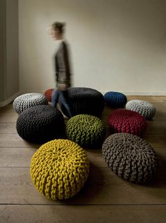 Crocheted and Knitted Floor Rugs, Poufs, Baskets and Pillows, Modern Home Accessories