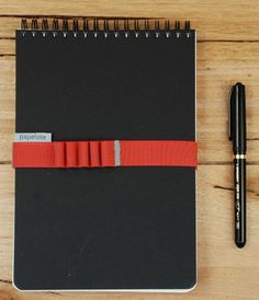 Papelote Spiral - - Dot Grid Pad (with Strap) Dot Grid Notebook, Pen Holders, A5, Spiral, Dots, Bullet Journal, Notebooks, Landscape, Stitches
