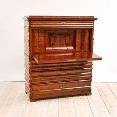 North German Fall-front Secretary in Flame Mahogany, c. 1860