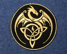 Gold Dragon Celtic Knot Embroidered Patch Applique  by GeekParade