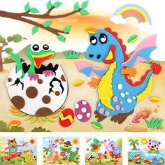Happyxuan 20 designs/lot 21*26cm Large Eva Foam Sticker Series X Cartoon Animal Educational Puzzles Kits for Kids