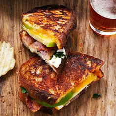 Tomatillo Grilled Cheese and Bacon Sandwiches - Best Sandwich Recipes - Sunset Bacon Sandwich Recipes, Bacon Sandwiches, Pork Recipes, Wine Recipes, Sandwich Menu, Sandwich Spread, Sandwich Board, Sandwich Ideas, Grilled Sandwich