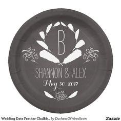 Wedding Date Feather Chalkboard Monogram