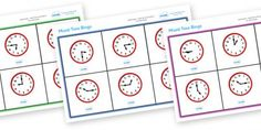 Here's a set of cards and bingo boards for practicing time to 15 minute intervals.