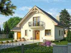 Projekt domu z poddaszem Sorbona o pow. 121 m2 z garażem 1-st., z dachem dwuspadowym, z tarasem, sprawdź! Wooden House Design, Home Fashion, Shed, Outdoor Structures, Mansions, House Styles, Studio, Altar, Flower Diy