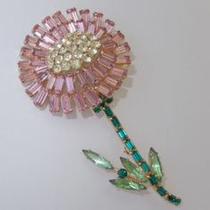 BIG VINTAGE WEISS PINK GREEN YELLOW RHINESTONE FLOWER BROOCH #Weiss