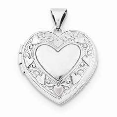 "NEW STERLING SILVER POLISHED HEART LOCKET 1.49g PENDANT .85"" X .70"" HEARTS #Locket"