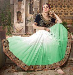 White & Green Color Georgette Designer Party Wear Sarees : Anushri Collection  YF-40200