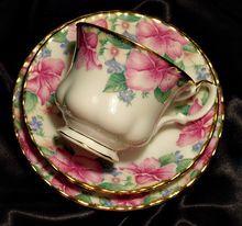 When my Grandma had coffee or tea she used these... Royal Albert England ~ Lydia ~ Trio ~ Tea Cup & Saucer & Side Plate