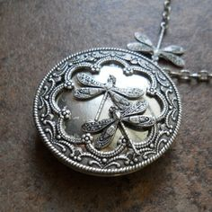 Dragonlfy Locket in Silver by Enchanted by EnchantedLockets, $25.00