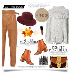 """""""My fall fringe"""" by anchilly23 ❤ liked on Polyvore featuring Philosophy di Lorenzo Serafini, French Connection, Salvatore Ferragamo, Prada, Saks Fifth Avenue and Anja"""