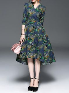 9415695d2d8bf Navy Blue V Neck High Low 3/4 Sleeve Floral-print Midi Dress Dresser