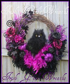 "Large Black Feather Owl Large Purple and Black Halloween Wreath, 13"" Owl, Fall"