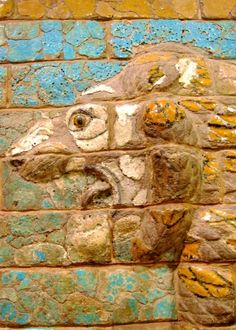 One of two Babylonian lions from the walls of the Ishtar Gate in Chicago's Oriental Institute.