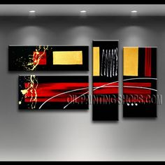 Colorful Modern Abstract Painting Oil Painting On Canvas Panels Stretched Ready To Hang Abstract. This 4 panels canvas wall art is hand painted by Bo Yi Art Studio, instock - $132. To see more, visit OilPaintingShops.com