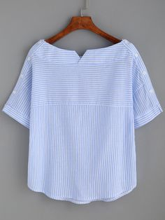 Shop Blue Stripe Boat Neck Blouse With Buttons online. SheIn offers Blue Stripe Boat Neck Blouse With Buttons & more to fit your fashionable needs.