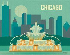 Chicago Skyline & Buckingham Fountain, Poster Art Print Wall Art for Home, Office, and Nursery - style E8-O-CHI3. $19.99, via Etsy.