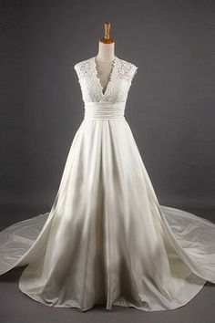 Vintage A-line V-neck Lace Ruched Streamer Satin Floor Length Court Bridal Dress